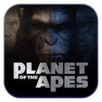 """This is a thumbnail of the movie license slot machine Planet of the Apes. Various ape faces with the words """"Planet of the Apes"""" can be seen on the picture. To play with the free-to-play demo of this online gambling game click on the picture."""