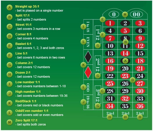 This is an American roulette table with annotations. This shows the place of various bet types and the name of these and the payout. If the iamge is not dispalyed correctly or you are visually impaired you can read these types of bets and their payouts right under the picture.