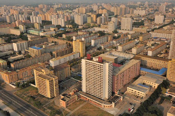 The picture shows Pyonyang, the capital of North Korea. Any form of gambling in North Korea is illegal.