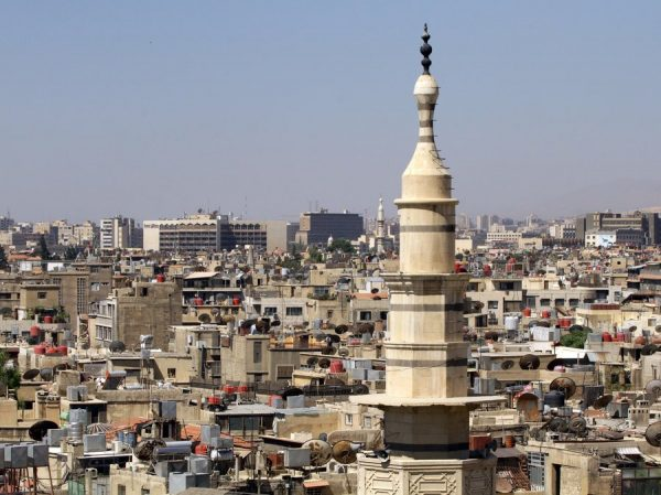 View from the rooftops of Damascus, the capital of Syria