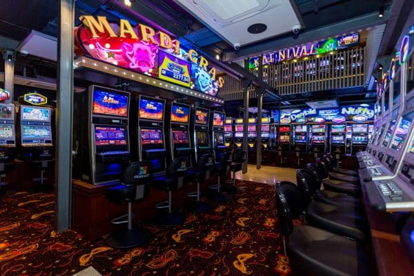 Slot machines in the Gran Kaz Entertainment Center in the Seychelles