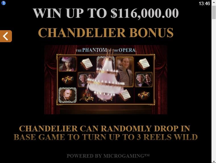 This is a picture of the chandelier bonus within the game, explaining what it does and how to trigger it.