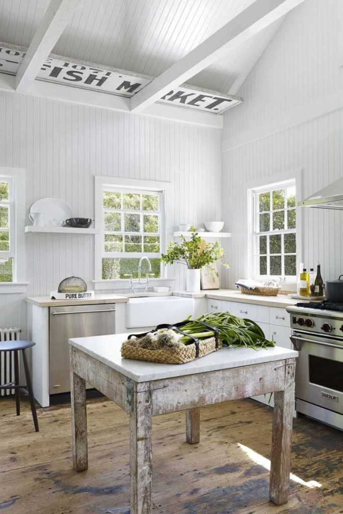vintage french table, hamptons home, waterworks, ceiling beams