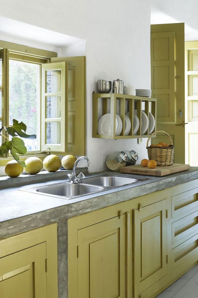 kitchen countertops, poured concrete, custom cabinetry, greek home