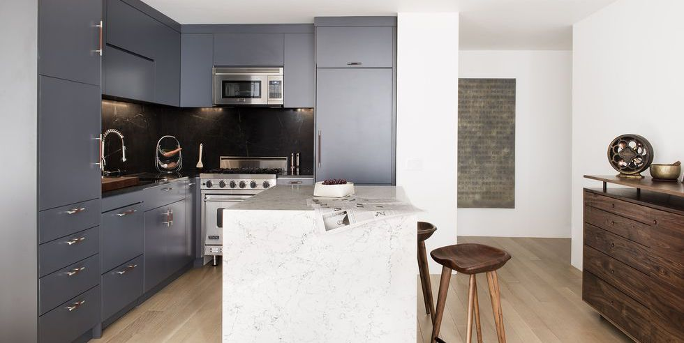 charcoal cabinetry, marble countertop