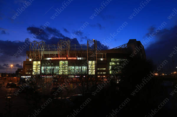 The sun sets behind Old Trafford ahead of Man Utd's game against Stoke