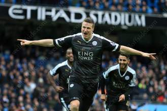 Robert Huth celebrates scoring for Leicester against Man City