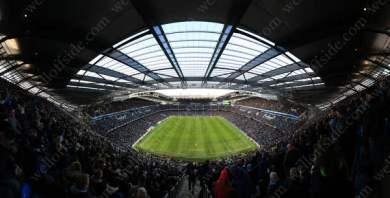 A panoramic view of Man City's Etihad Stadium