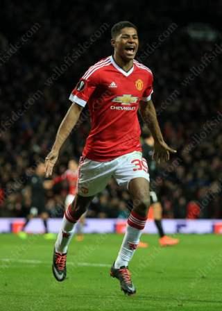 Marcus Rashford of Man Utd celebrates after scoring their 3rd goal against FC Midtjylland