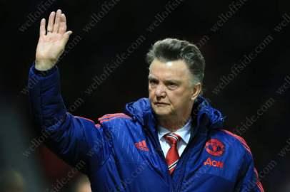Man Utd manager Louis van Gaal waves