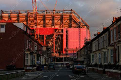 A general view of the Main Stand building site at Anfield bathed in low evening sunlight
