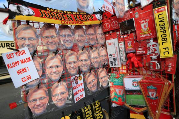 Masks bearing the face of former Borussia Dortmund and current Liverpool manager Jurgen Klopp