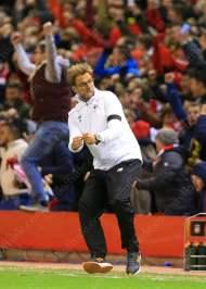 Liverpool manager Jurgen Klopp celebrates his side's 3rd goal