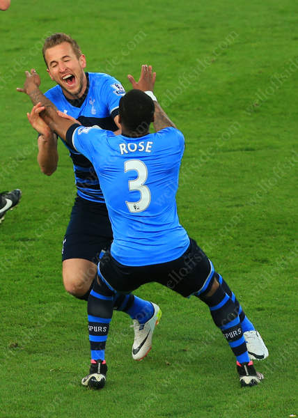 Harry Kane of Spurs celebrates with teammate Danny Rose after scoring their 1st goal