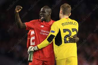 Mamadou Sakho of Liverpool celebrates victory over Man Utd in the first leg of their UEFA Europa League tie