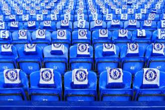 Complimentary Chelsea scarves left on the seats in the away end