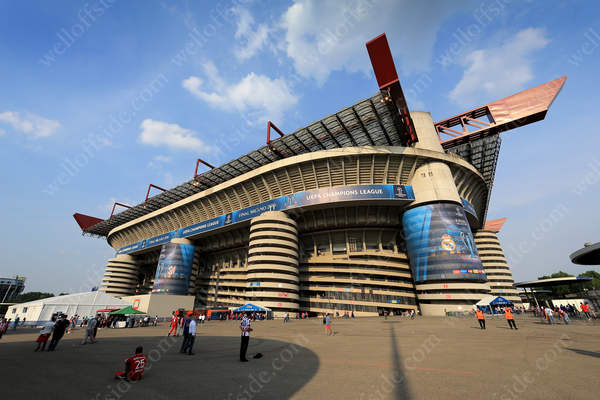 A general view of the San Siro stadium as the sun beats down on Milan ahead of the UEFA Champions League Final