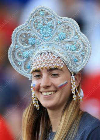 Another Russian fan, this time with interesting headwear