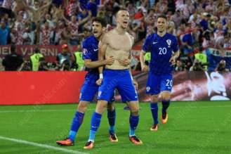 Ivan Perisic of Croatia celebrates after scoring their winning goal