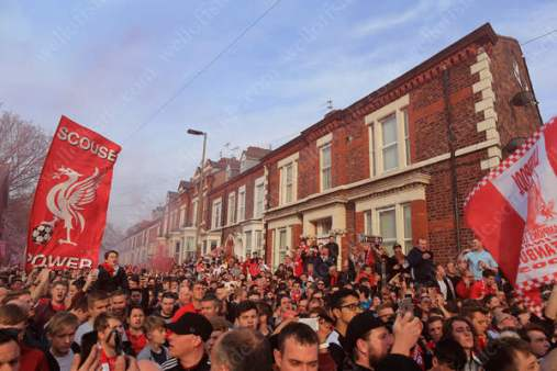 Liverpool fans gather to welcome the team bus before their side's UEFA Europa League Semi-Final (2nd Leg) match against Villarreal