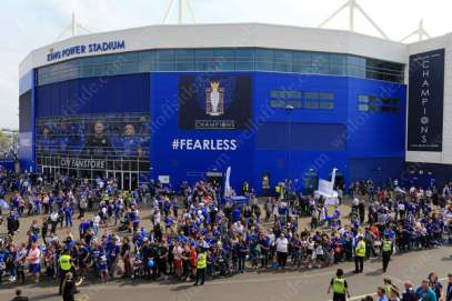 Leicester fans gather outside the King Power Stadium to welcome the players before their final home match of the season, against Everton