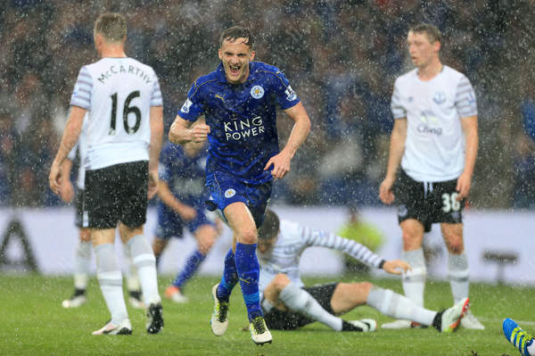 Andy King of Leicester celebrates after scoring their 2nd goal