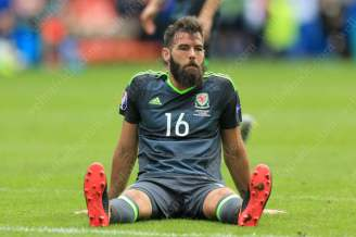Joe Ledley of Wales looks dejected
