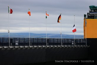 TROON, SCOTLAND - JULY 15: Following the overnight terrorist attack in Nice, the French tricolor flag flies at half mast during the 145th Open Championship at Royal Troon Golf Club on 15th July 2016 in Troon, Scotland. Photo by Simon Stacpoole/SilverHub 0203 174 1069 / 07711 972644