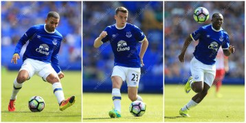Everton players Aaron Lennon, Seamus Coleman and Arouna Kone in action