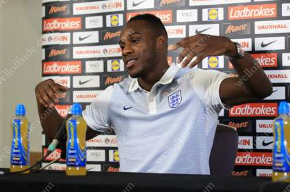 Michail Antonio gestures during an England press conference