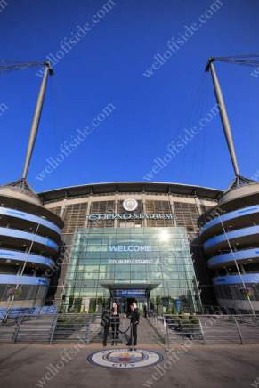 A general view of the Etihad Stadium, as blue skies and sunshine replace the awful conditions from the previous evening