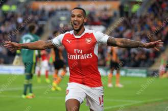 Theo Walcott of Arsenal celebrates after scoring their 2nd goal