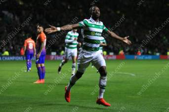 Moussa Dembele of Celtic celebrates after scoring their 3rd goal