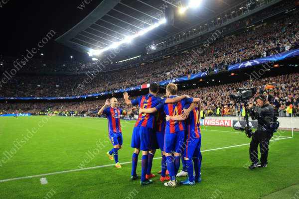 Barca players celebrate another goal inside the Nou Camp