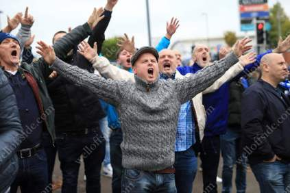 Birmingham fans welcome the visiting supporters to St. Andrews