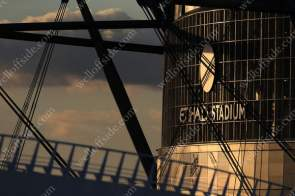 Manchester City's Etihad Stadium is bathed in glorious low evening sunlight