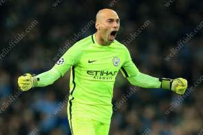 Man City goalkeeper Wilfredo Caballero celebrates their 2nd goal against FC Barcelona