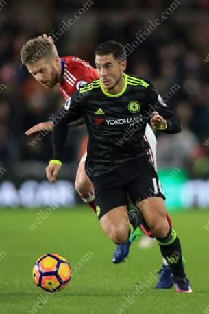Eden Hazard of Chelsea battles with Adam Clayton of Boro