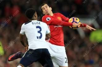 Danny Rose of Spurs battles with Henrikh Mkhitaryan of Man Utd