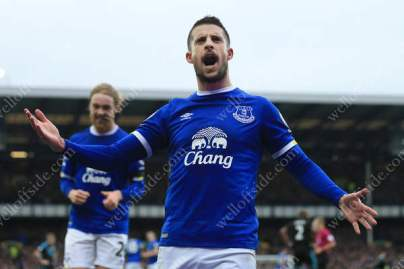 Kevin Mirallas of Everton celebrates after scoring their 1st goal against West Brom