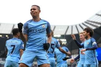 Gabriel Jesus of Man City celebrates after scoring their 1st goal