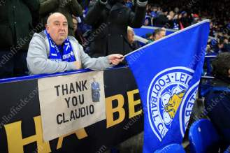 A Leicester fan displays a banner thanking sacked manager Claudio Ranieri