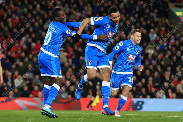Joshua King of Bournemouth celebrates after scoring their 2nd goal