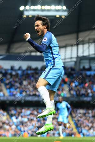 David Silva of Man City celebrates after scoring their 1st goal at home to Crystal Palace