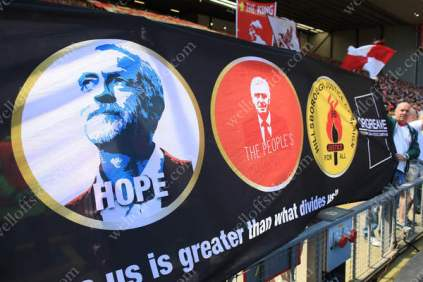 Liverpool fans display a banner in support of Jeremy Corbyn and the Labour Party ahead of their match against Southampton