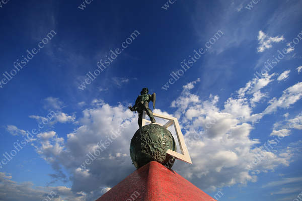 A general view of the gladiator statue outside the Otkrytiye Arena in Moscow