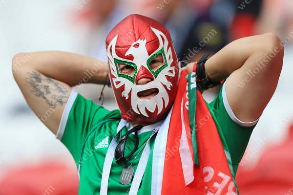 A Mexico fan wears a lucha libre-style wrestling mask