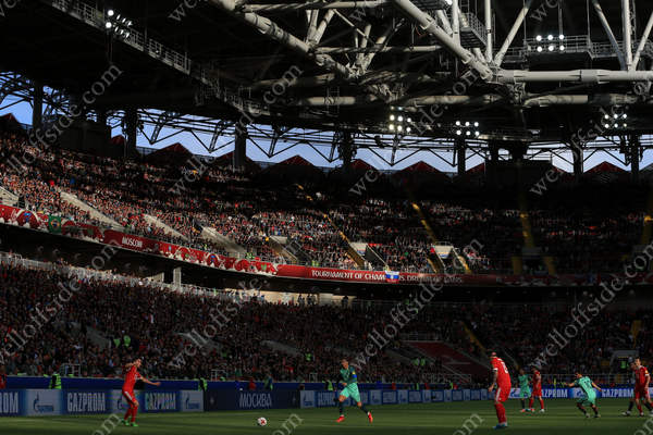 Sunlight beats down on the Otkrytiye Arena