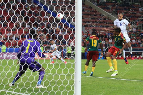 Arturo Vidal of Chile scores their 1st goal