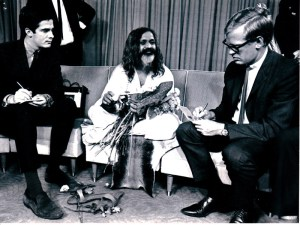 Simon with famous Australian journalist Garrett Jones, both interviewing guru to The Beatles, Maharishi Mahesh Yogi, 1969